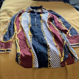 Long Sleeve Multicolored Print Blouse